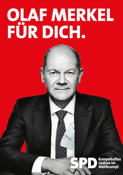 Im Stile des SPD-Wahlplakates: Olaf Merkel für dich