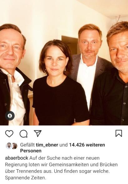 Screenshot Instagram -- abaerbock: Auf der Suche nach einer neuen Regierung loten wir Gemeinsamkeiten und Brücken über Trennendes aus. Und finden sogar welche. Spannende Zeiten