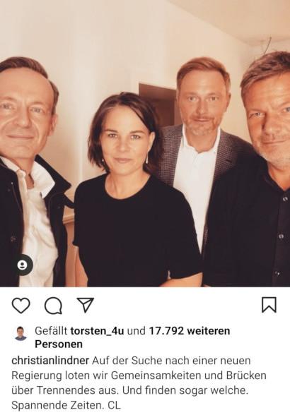 Screenshot Instagram -- christianlindner: Auf der Suche nach einer neuen Regierung loten wir Gemeinsamkeiten und Brücken über Trennendes aus. Und finden sogar welche. Spannende Zeiten