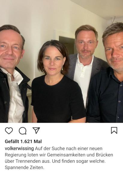 Screenshot Instagram -- volkerwissing: Auf der Suche nach einer neuen Regierung loten wir Gemeinsamkeiten und Brücken über Trennendes aus. Und finden sogar welche. Spannende Zeiten